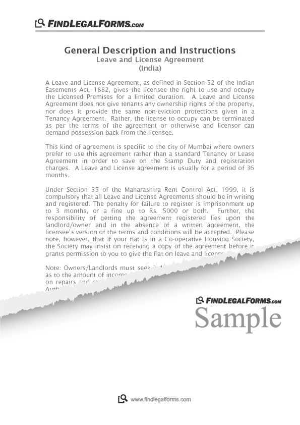 Leave And Licence Agreement Mumbai India Sample